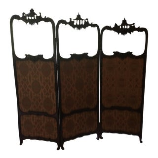 Antique Chippendale Style Three Panel Screen