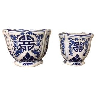 Two Nesting Planters Blue & White Chinoiserie