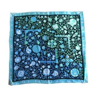 1960s Aqua Geo Print Pucci Signature Silk Scarf