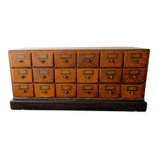 Oak Antique 18 Drawer File Cabinet Circa 1890 Original Pulls