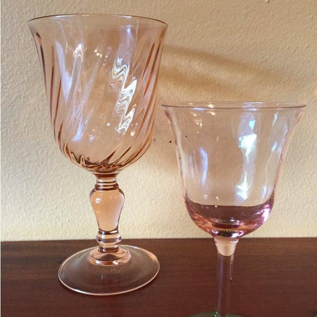 Art Deco Pink Glass Stemware - Set of 5 - Image 5 of 10