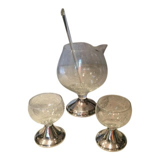 Duchin Creation Mid-Century Sterling & Glass Decanter & Glasses Set - Set of 4
