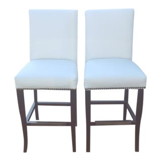 Wood & White Twill Fabric Counter Chairs- A Pair