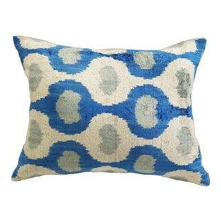 """Aly"" Contemporary Blue Silk Velvet Ikat Pillow"