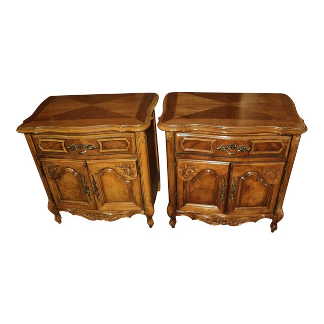Stanley French Provincial Pecan Nightstands - A Pair - Image 1 of 6