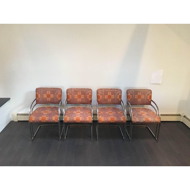 Milo Baughman Style 1970's Deco Style Chrome Framed Chairs - Set of 4 - Image 2 of 8