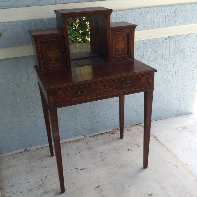 Antique Inlaid Wood Writing Desk - Image 2 of 11 - Antique Inlaid Wood Writing Desk Chairish