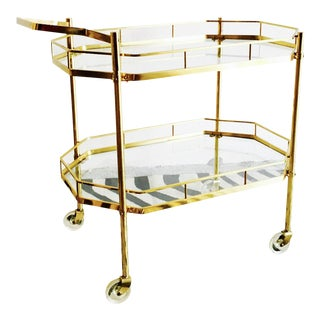 1960's French Brass Bar Cart