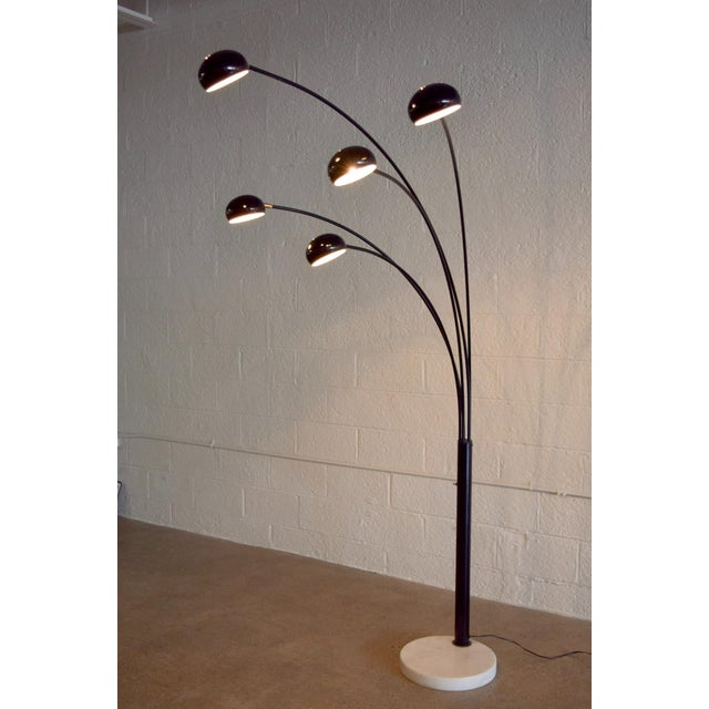 black five arm arc floor lamp with marble base chairish. Black Bedroom Furniture Sets. Home Design Ideas
