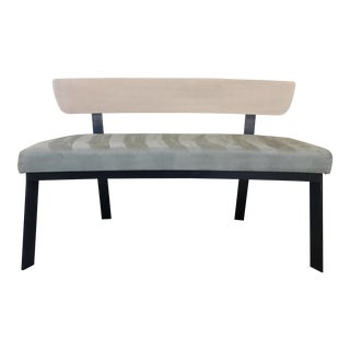 Suede Curved Contemporary Bench
