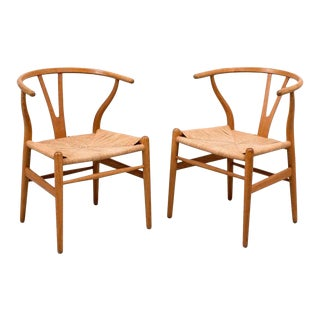 Pair of Early Hans Wegner Wishbone Chairs, Model CH24, 1950s