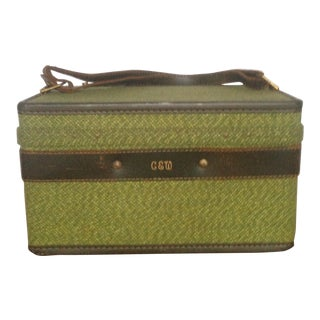 Mid-Century Fabric and Leather Train Case