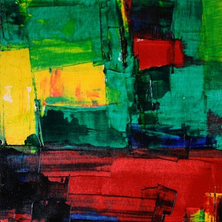 Bright Red, Green & Yellow Abstract Acrylic Oil Paul Ashby