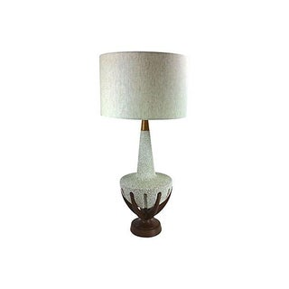 Midcentury Walnut & Lava Glaze Lamp