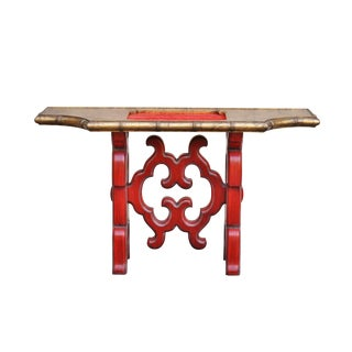 Chinoiserie Red Console Table