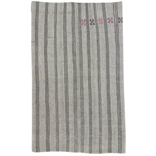 Hand-Woven Gray Turkish Kilim - 7′7″ × 12′2″