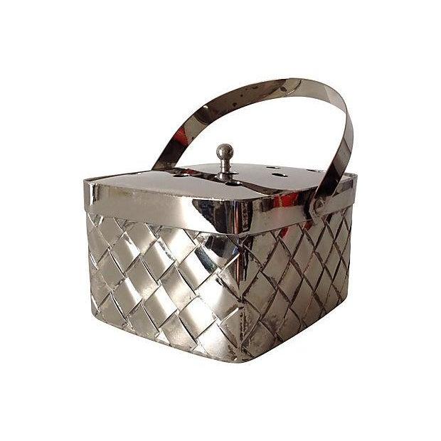 Silverplate Woven Basket Vase - Image 3 of 7