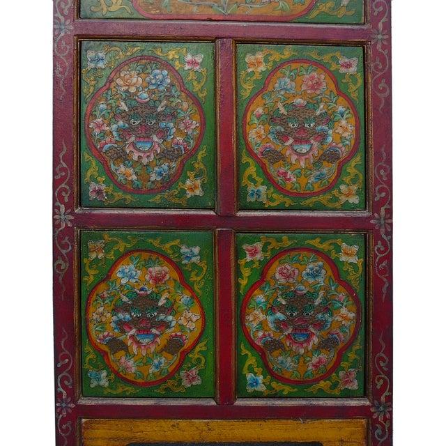 Image of Chinese Tibetan Green Red Dragon Slim Cabinet