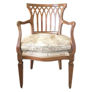 French Vintage Lattice Back Arm Chair