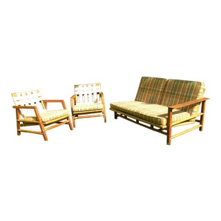 Ficks Reed Vintage Day Bed & Leather Back Chairs