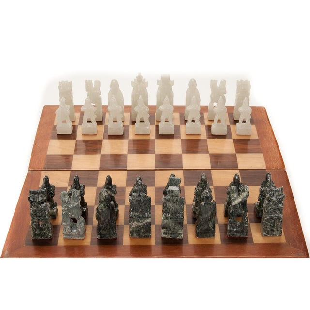 Chinese Green & White Jade Soap Stone Chess Set - Image 4 of 8