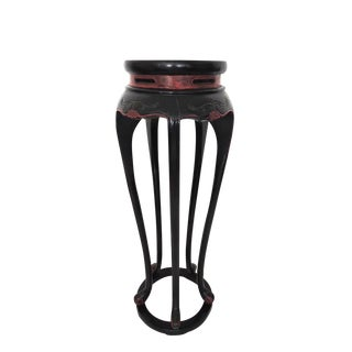 Slim Oriental Black Pedestal or Display Stand