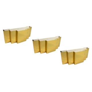 Art Deco Style Brass Sconces - Set of 3