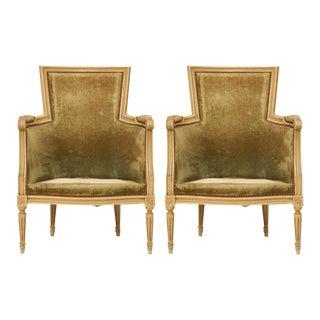 Louis XVI Style Bergere Chairs - A Pair