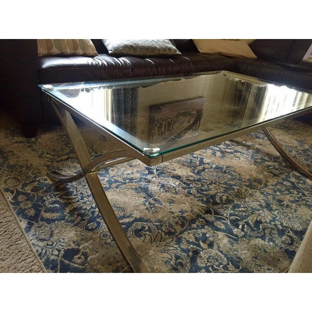 Glass and Stainless Steel Coffee Table - Image 3 of 3