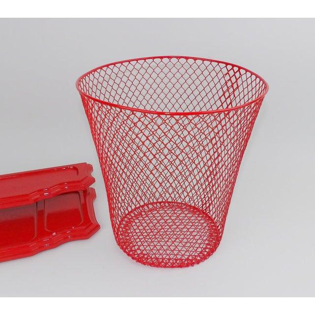 Vintage Mid-Century Modern Red Wire Metal Waste Bucket - Image 9 of 11