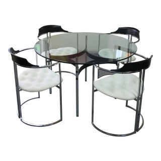 Vintage Modern Chrome and Glass Dining Set