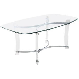 Modern Lucite and Chrome Dining Table