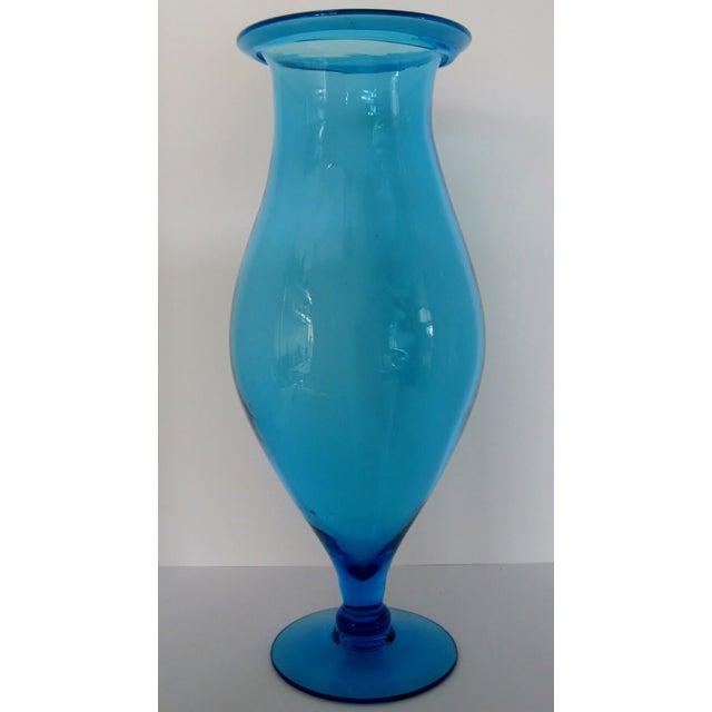 Image of Blenko Turquoise Goblet Vase