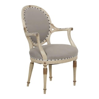 Circa 1940's French Louis XVI Style Gray Upholstered Arm Chair