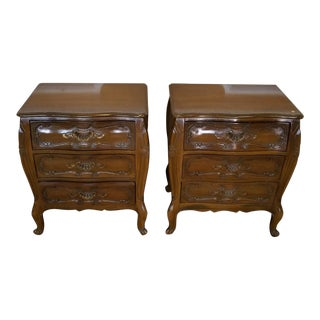1960s Bombe Style Italian Provincial 3 Drawer Nightstands - A Pair