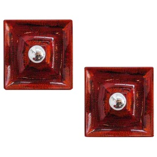 Red Ceramic Wall Sconces - A Pair