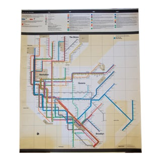 1972 Massimo Vignelli First Edition Non-Consumer New York Subway Map Poster