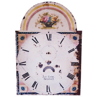 Antique Hand-Painted Floral Clock Face