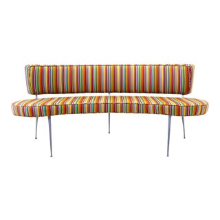 Custom Built Curved Sofa / Bench with Impala Chair Legs, Alexander Girard Fabric