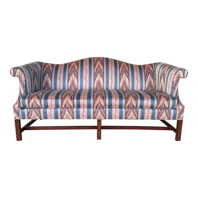 Hickory Chair Flame Stitch Chippendale Style Camel Back Sofa - Image 1 of 11