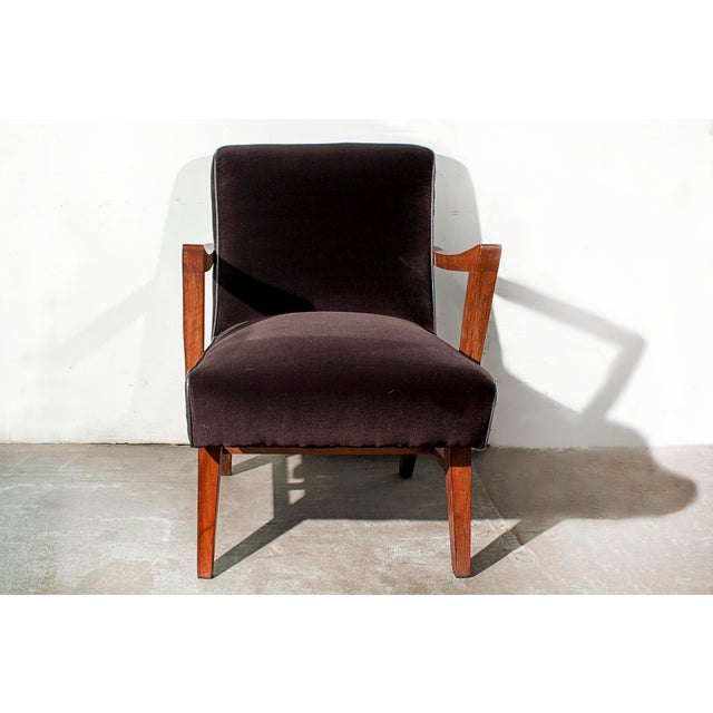 Wormley for Dunbar Style Brown Micro Velvet Armchair - Image 3 of 6