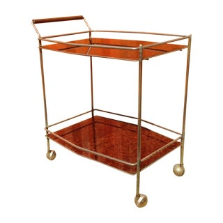 1960's Reverse Painted Glass Serving Cart