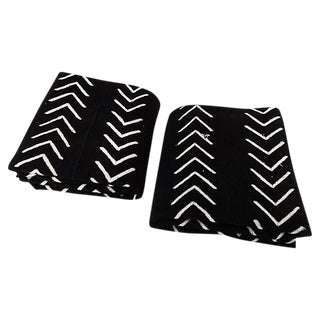 Malian Black & White Mud Cloth Textiles - A Pair