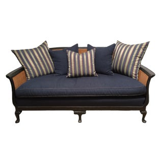 Chinoiserie Cane Back Settee With Pillows