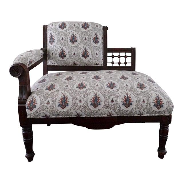 Vintage Eastlake Style Settee Upholstered in Tilton Fenwick Fabric - Image 1 of 8
