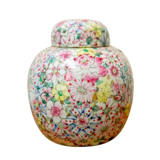 Mid-Century Pink Hand-Painted Chinese Ginger Jar