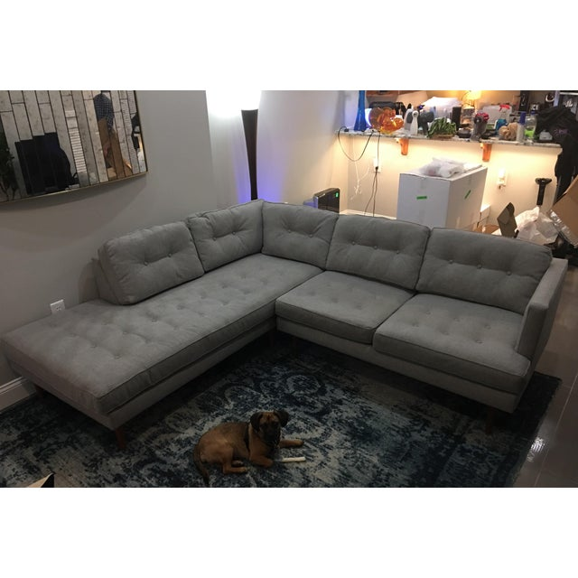 West Elm Peggy Mid Century Chaise Sectional Chairish