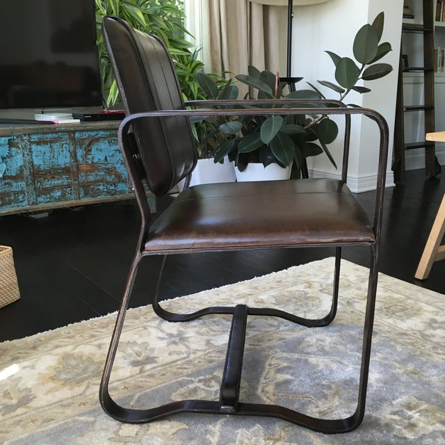 Restoration Hardware Brown Leather Buckle Chair - Image 3 of 5