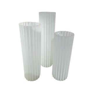 Ribbed White Glass Vases - Set of 3