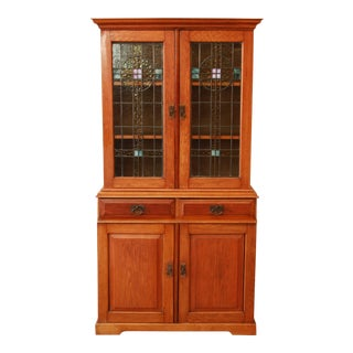 Antique Arts & Crafts Bookcase Hutch